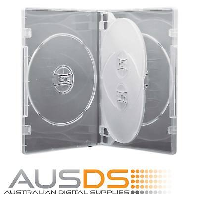 1 X CD / DVD Case clear quad 14mm spine - Holds 4 Discs