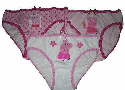 Girls 3 Pack Briefs Pants Underwear Peppa Pig