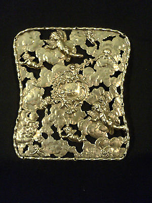 FABULOUS STERLING SILVER DECORATIVE ALBUM COVER PLATE w/ CHASED CHERUB DESIGN