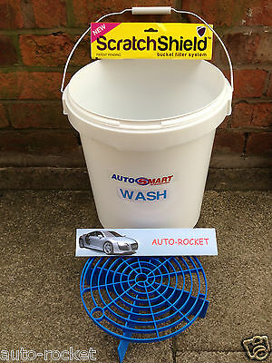 1 x Grit Guard Scratch Bucket & Shield, with Autosmart labels 20L Litre Valeting
