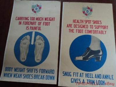 Vintage c.1943 Health Spot Shoes Window Card Poster Sign Lot of 2 BIG 29 x 20