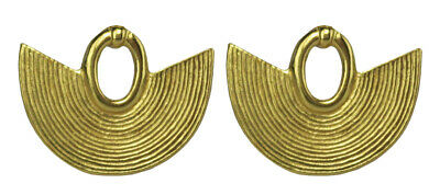 ACROSS THE PUDDLE 24k GP Pre-Columbian Striped Nose Ring (S) Stud Earrings