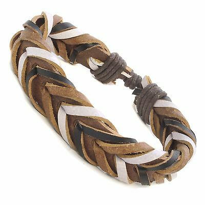 Mens Real Leather Surf Surfer Wristband Bracelet Urban Tribal Braided - HOT WB36