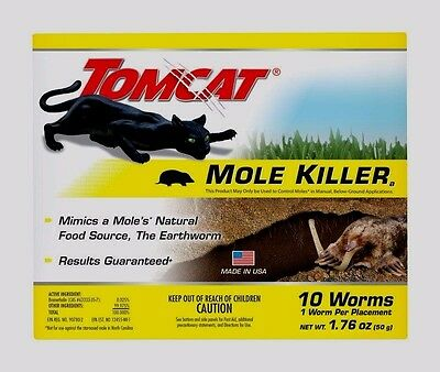 10 pk TOMCAT Mole Killer 10 WORM Shaped Baits Pest Rodent Control Scotts EASY!!!