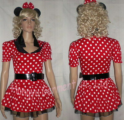 HY128 Hot Red Christmas Costume Outfit + Belt Womens' Minnie Mouse Party Fancy