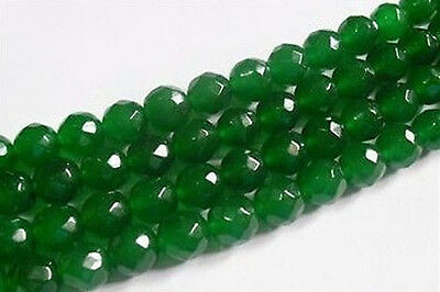 AAA+++ 8mm Faceted Natural Green Emerald Loose Beads Gemstone 15""