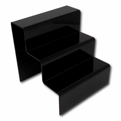 1 x 3 Step Tier Large Black Acrylic Perspex Retail Counter Display Riser Stand
