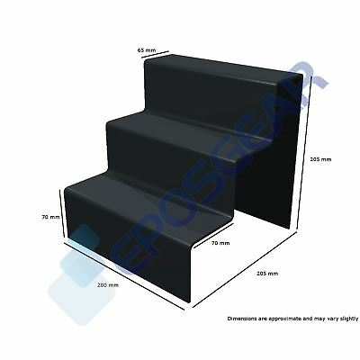 10 x 3 Step Tier Large Black Acrylic Perspex Retail Counter Display Riser Stand