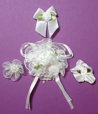 Beautiful Selection Of  White Ribbon  Embellishments X 4