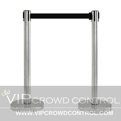 "2 Pcs Stanchion Set, 36"" Satin S.s. With 12"" Flat Base And 78"" Blk Belt"