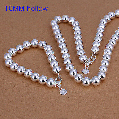 Lowest price wholesale solid silver 10mm ball bracelet&necklace set +box XLSS151