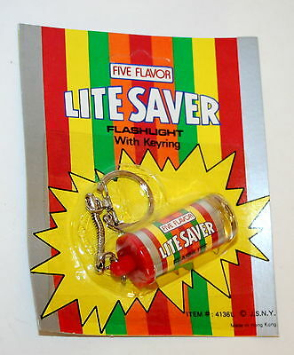 Toy Vending Prize Life Savers Candy Roll Key Chain Flashlight 1970s NOS New