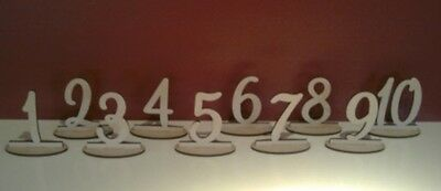 Wooden freestanding 16cm tall table numbers. Price per set. Wedding decoration.