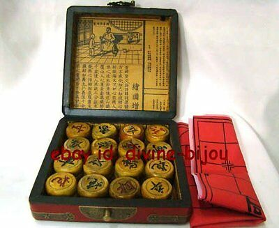 FAMOUS CHINESE OLD RED Dragon phoenix BOX WITH WHOLE  CHESS SET