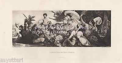 Cleopatra On The Cydnus-Boat-Queen Egypt-Egyptian-1884 ANTIQUE VINTAGE ART PRINT