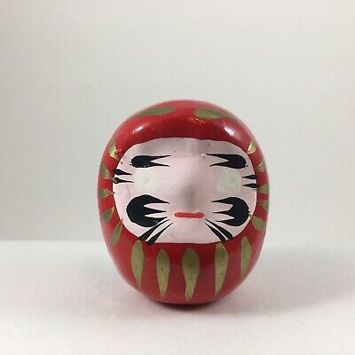 "Japanese 2""H Classical Red Daruma Doll for Luck & Good Fortune, Made in Japan"
