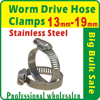 20 x Worm Gear Drive Hose Clamps 13mm to 19mm Stainless Steel Clips Fastener