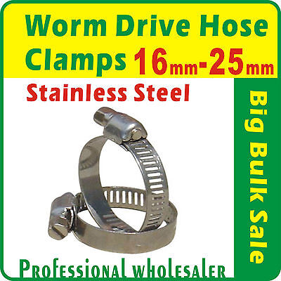 20 x Worm Gear Drive Hose Clamps 16mm to 25mm Stainless Steel Clips Fastener