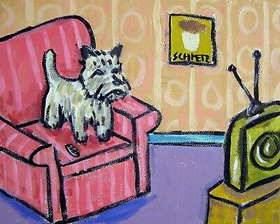 cairn terrier DOG signed art print animals impressionism artist 8x10 gift new
