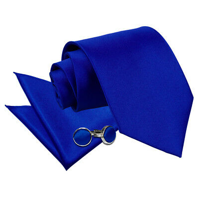 DQT Satin Plain Solid Royal Blue Classic Slim Skinny Tie Hanky Cufflinks