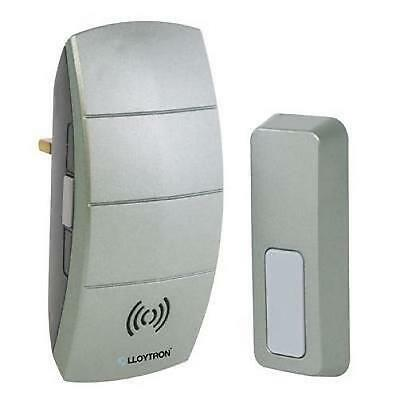 Lloytron B7504 Plug In Wireless Door Bell Chime 32 Melody Waterproof Push - Grey