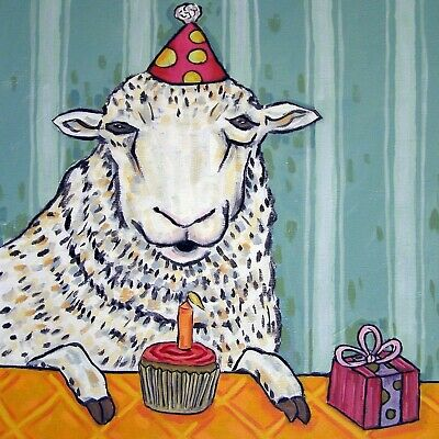 SHEEP ram lamb art tile coaster gift JSCMETZ modern folk birthday