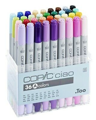 Copic Ciao Marker - 36A Pen Set - Twin Tipped - 36 Unique Colours *brand New*