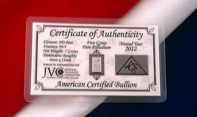 ACB Solid 5GRAIN SOLID Palladium BULLION MINTED BAR 99.9  Pure PD With COA +