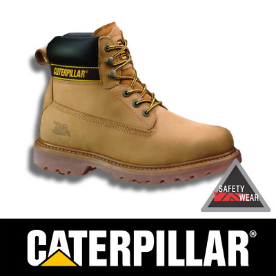 CAT Caterpillar Holton Steel Toe Work Boots Safety Leather Nubuck NEW