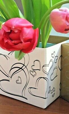 Coloured Boxes with Heart Design - 8 Boxes 13cm square - no lids Gold or White