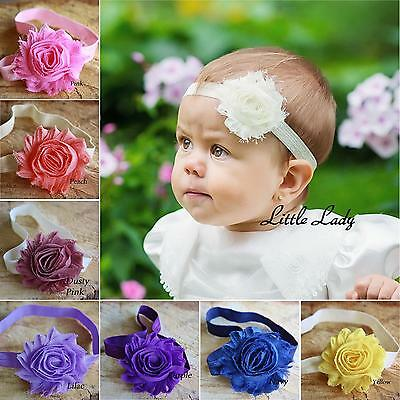 Baby Girl Elastic Headband Hair Band Shabby Flower Rose Christening Wedding Soft