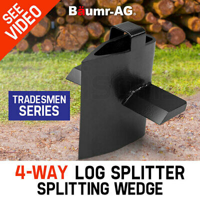 NEW Baumr-AG 4-Way Slip-On Log Splitter Wedge Hydraulic Wood Cutter Axe Firewood