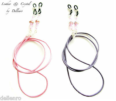 ✫ Leather & Crystal ✫ Eyeglasses Spectacles Glasses Chain Holder Cord