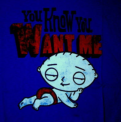 Family Guy Cartoon Stewie You Know You Want Me Royal Blue T-Shirt New Large