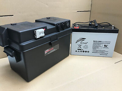 Power Battery Box With 12V 105Ah 800Cca,deep Cycle Agm Dual System Free Usb