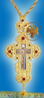 Orthodox Pectoral Cross 6cm x 15cm With Russian Enamel Hand Made in Greece