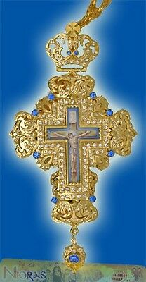 Orthodox Pectoral Cross 7cm x 16cm With Russian Enamel Hand Made in Greece