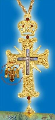 Orthodox Pectoral Cross 5cm x 15cm With Russian Enamel Hand Made in Greece