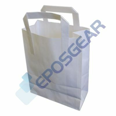 250 Small White SOS Kraft Takeaway Food Party Gift Paper Handle Carrier Bags