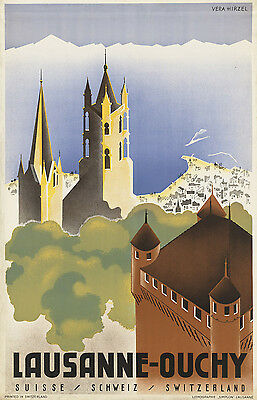 Switzerland Vintage Art Deco Travel Advertising Poster A1A2A3A4Sizes LUGANO