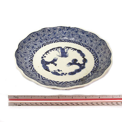 Antique Chinese Blue & White Hand Painted Ceramic Porcelain Plate 18th C.