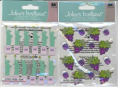 U CHOOSE  Jolee's  STATUE OF LIBERTY   or   WINEGLASS & GRAPE  3D Stickers