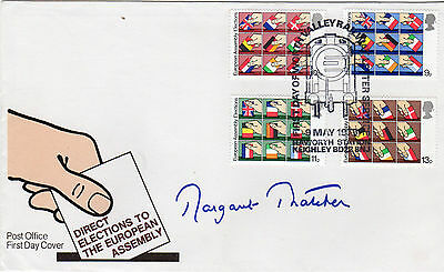 MARGARET THATCHER personally signed European assembly FDC