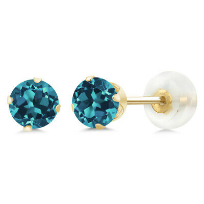 1.10 Ct Round London Blue Topaz 10K Yellow Gold 4-prong Stud Earrings 5mm