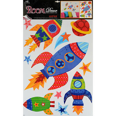 Wholesale Job Lot 48 Packs Glitter Room Decor Removable Wall Stickers - Rockets