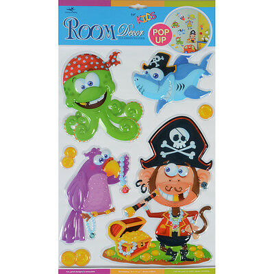 Wholesale Job Lot 72 Packs Pirates Pop Up Removable Room Decor Wall Stickers