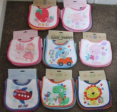 Baby Bibs Terry Towelling Plastic Backed Bib Boys Girls Unisex Pack 7 Gift New