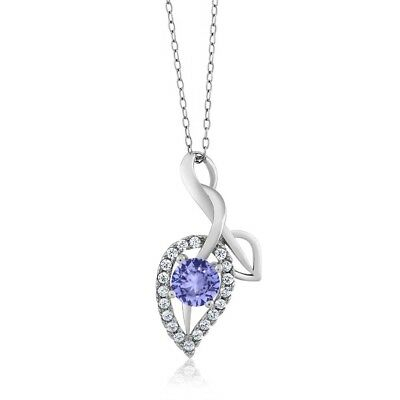 "0.70 Ct Round Blue Tanzanite 925 Sterling Silver Pendant With 18"" Chain"
