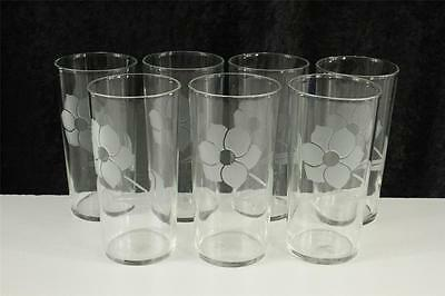 Vintage Kitchen Federal Glass Lot 7 Frosted Flower Etch 1960s Tumblers
