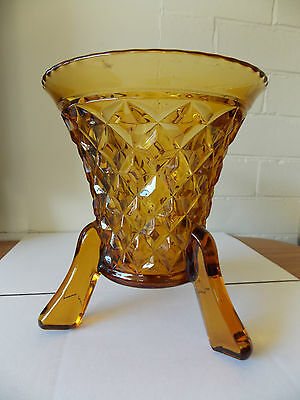 Vintage Antique Collectable Retro Pressed Amber Glass Footed Vase + Frog, Large
